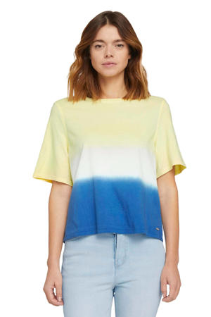 T-shirt geel/wit/blauw