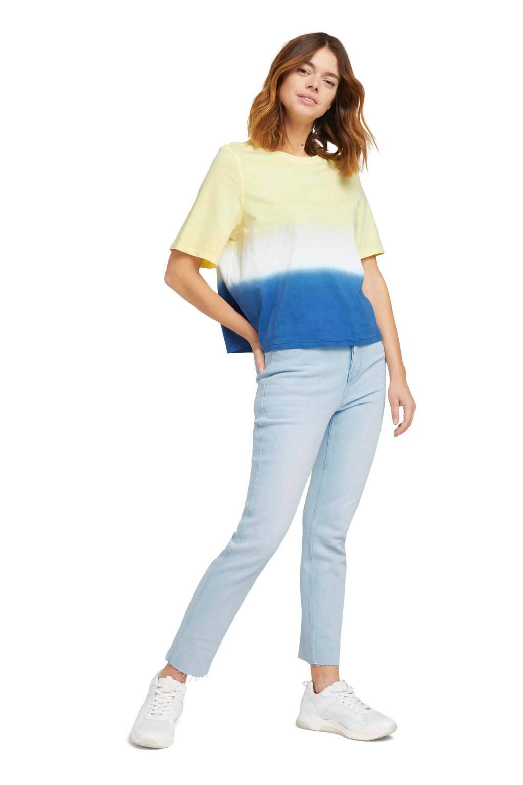 Tom Tailor Denim T-shirt geel/wit/blauw, Geel/wit/blauw