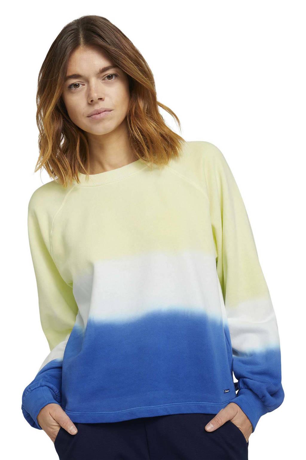 Tom Tailor Denim sweater geel/wit/blauw, Geel/wit/blauw
