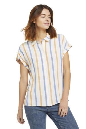 gestreepte blouse wit/blauw/oranje