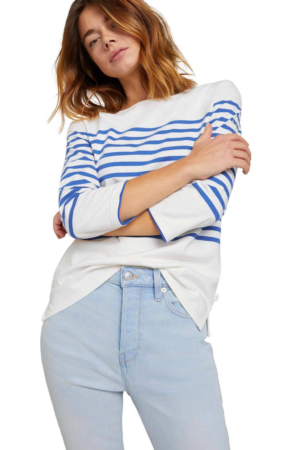 Tom Tailor Denim gestreepte top wit/blauw, Wit/blauw