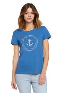 Tom Tailor Denim T-shirt met printopdruk blauw, Blauw