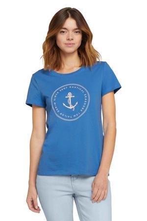 T-shirt met printopdruk blauw