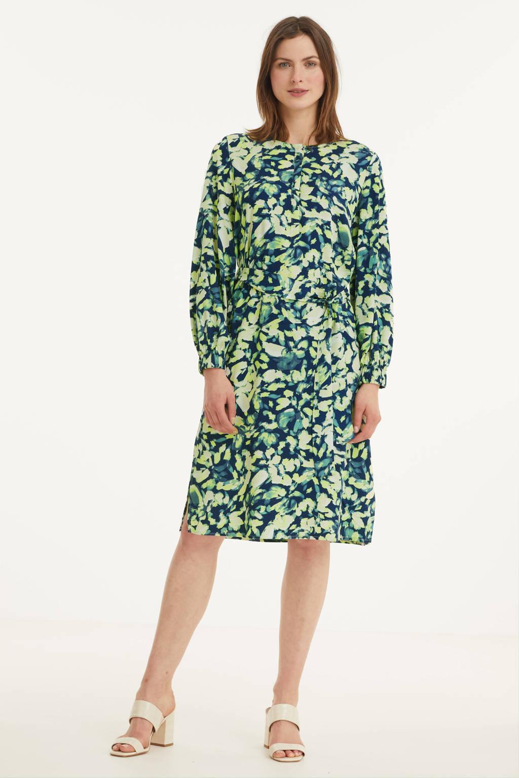 Tom Tailor jurk met all over print en ceintuur groen, Groen