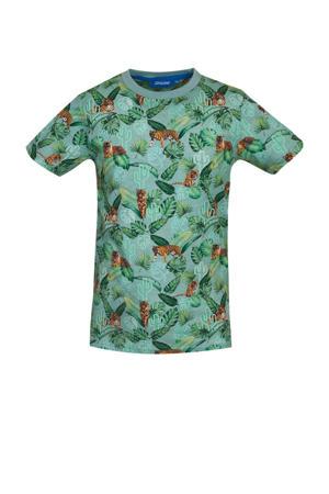 T-shirt Rajah met all over print groen/lichtblauw