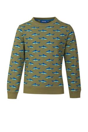 sweater Jawsy met all over print kakigroen/blauw