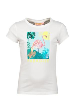 T-shirt Fleo met printopdruk en glitters offwhite