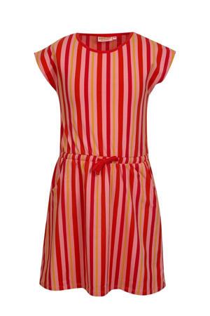 gestreepte jurk Caroline roze/rood/geel