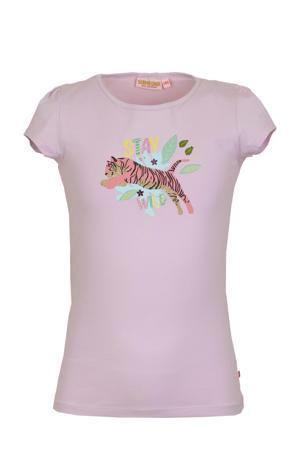 T-shirt Promise met printopdruk en glitters lila
