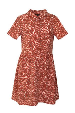 jurk Dapple met all over print en plooien brique/ecru