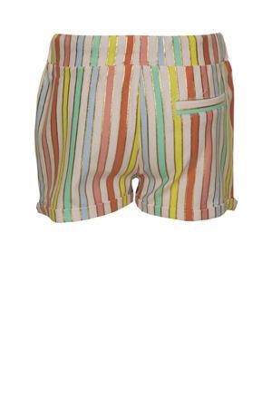 gestreepte loose fit short Rachel roze/multicolor