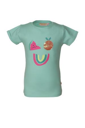 T-shirt Sunkist met all over print en pailletten mintgroen