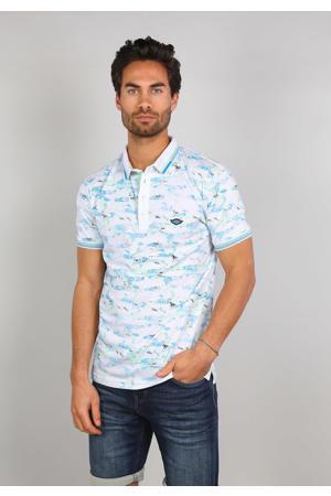 slim fit polo met contrastbies wit/lichtblauw