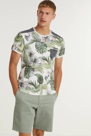 T-shirt met all over print wit/roze