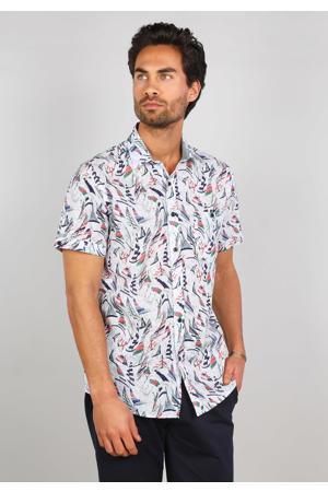 slim fit overhemd met all over print wit/blauw/roze