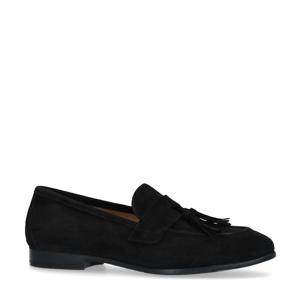 suède loafers met kwastjes zwart