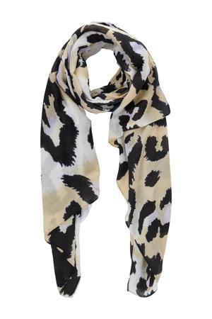 sjaal met luipaardprint Leslie beige/wit