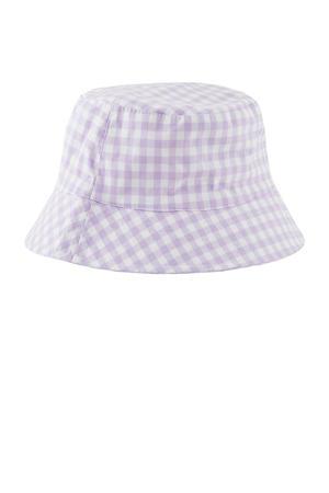 geruite bucket hat Laya lila/wit