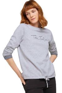Tom Tailor trui met tekst lichtblauw, Lichtblauw