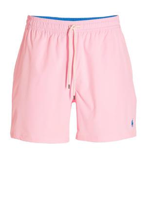 zwemshort met geborduurd logo roze