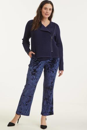 fluwelen loose fit broek donkerblauw