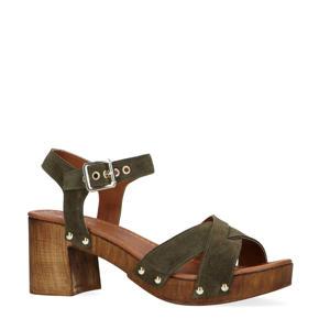 suède sandalettes groen