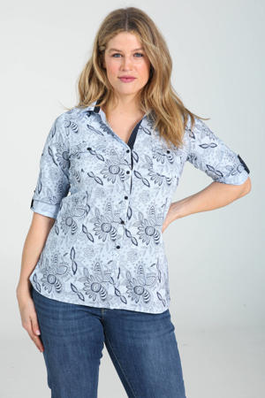 blouse met all over print lichtblauw/donkerblauw