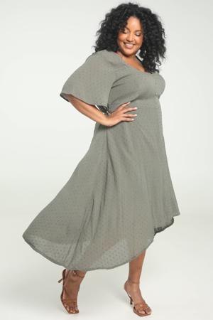 semi-transparante A-lijn jurk met volant kaki