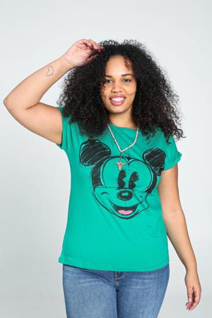 Mickey Mouse T-shirt van biologisch katoen groen/zwart