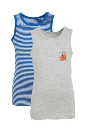 hemd - set van 2 lichtgrijs/blauw