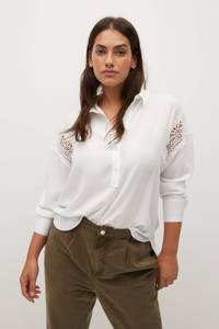 Violeta by Mango blouse van gerecycled polyester wit, Wit