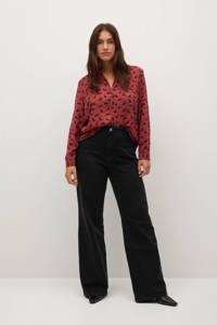 Violeta by Mango blouse van gerecycled polyester roze/ donkerblauw, Roze/ donkerblauw