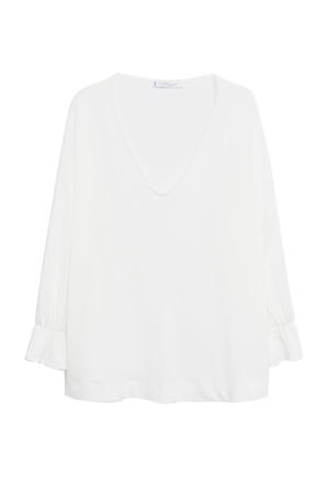 basic top met ruches wit