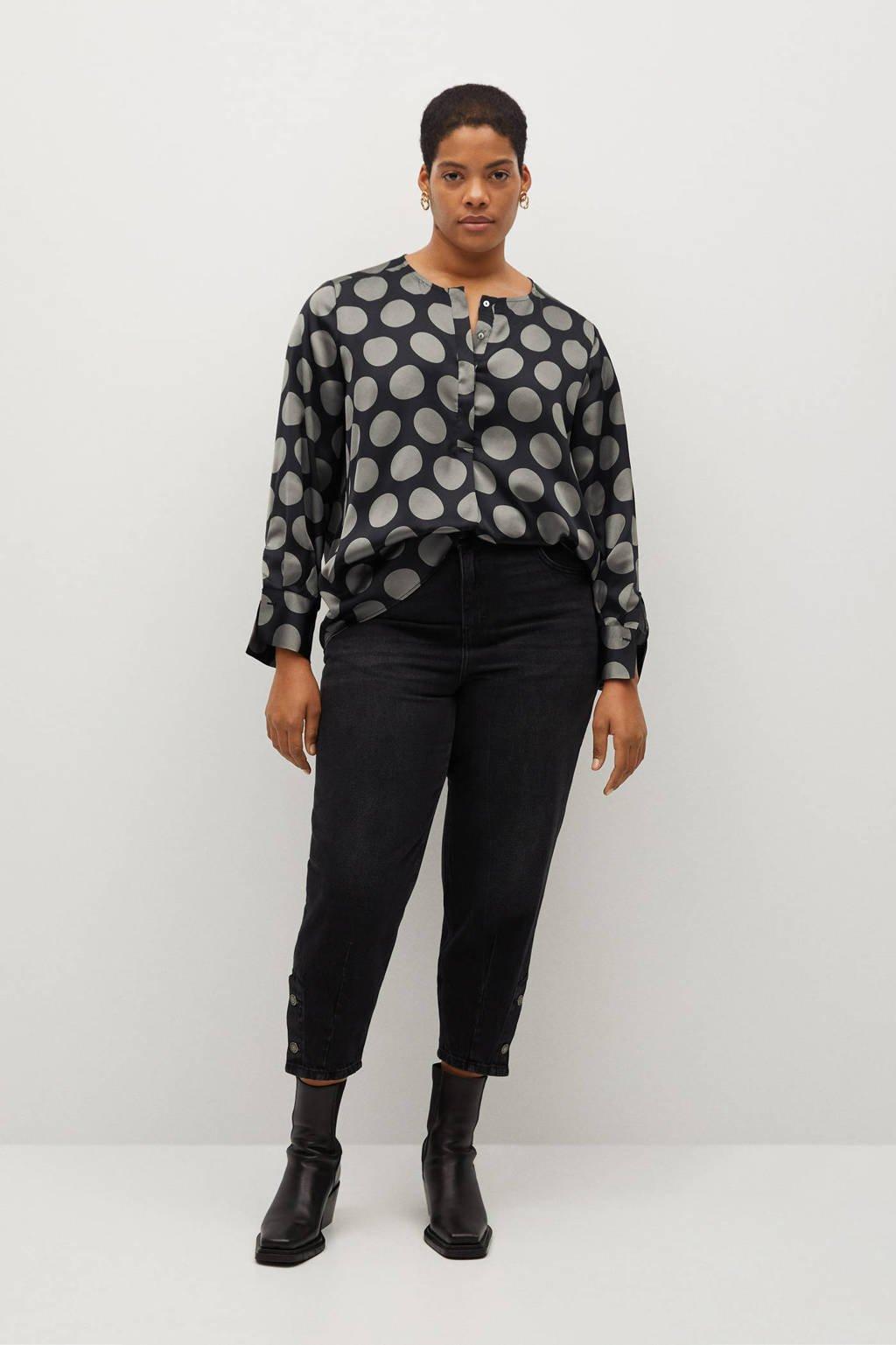 Violeta by Mango top van gerecycled polyester zwart, Zwart