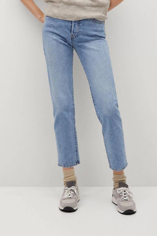 Mango cropped straight fit jeans light blue, Light Blue