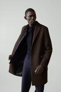 Mango Man  jas met wol en pied-de-poule bruin, Bruin