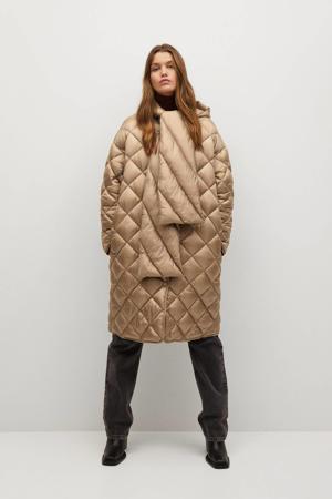 gewatteerde jas lichtbeige