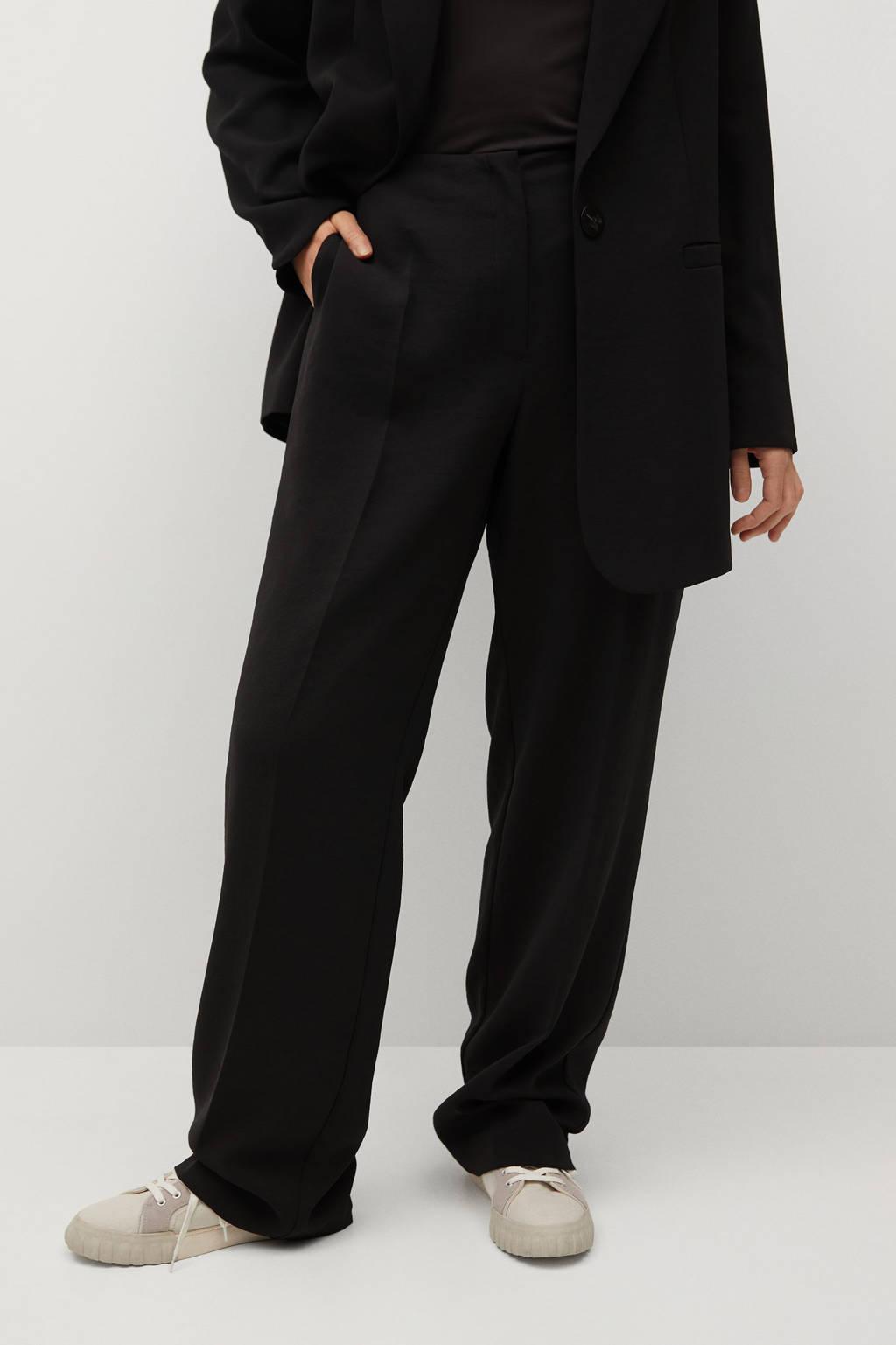 Violeta by Mango high waist loose fit pantalon zwart, Zwart