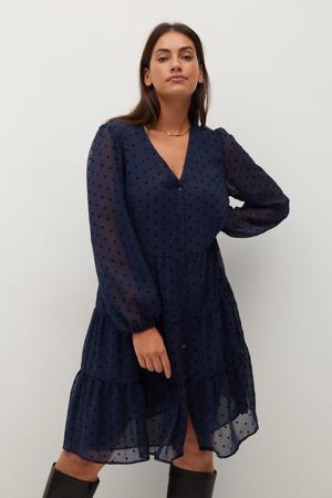 semi-transparante jurk met stippen en volant donkerblauw/zwart