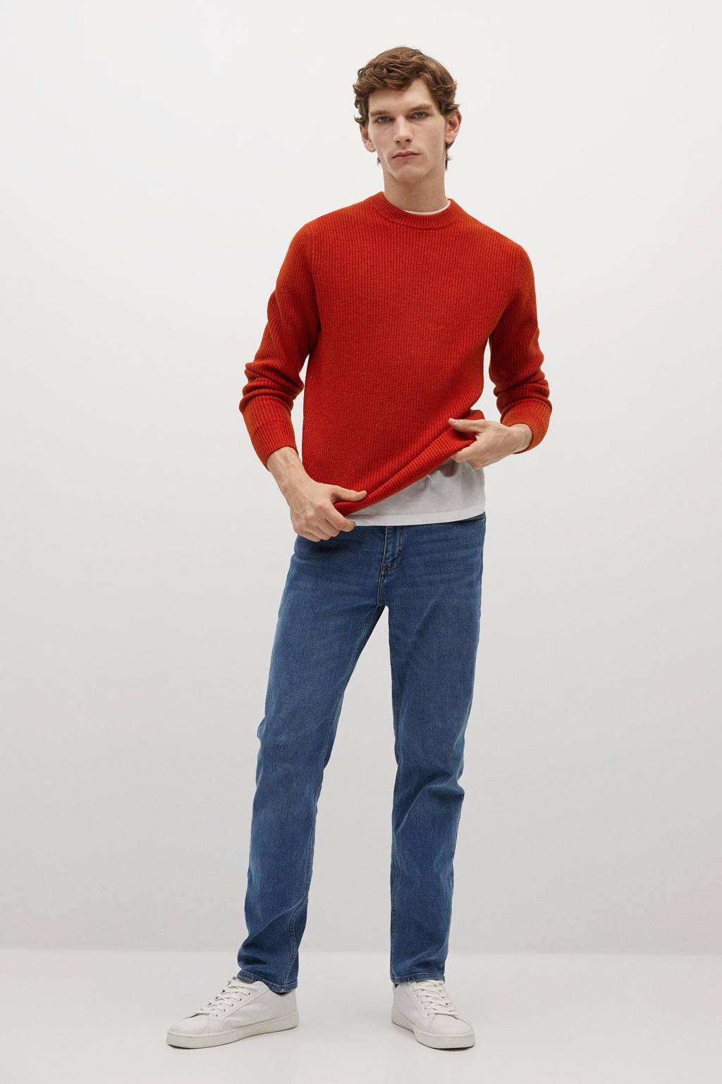 Mango Man trui met wol rood, Rood