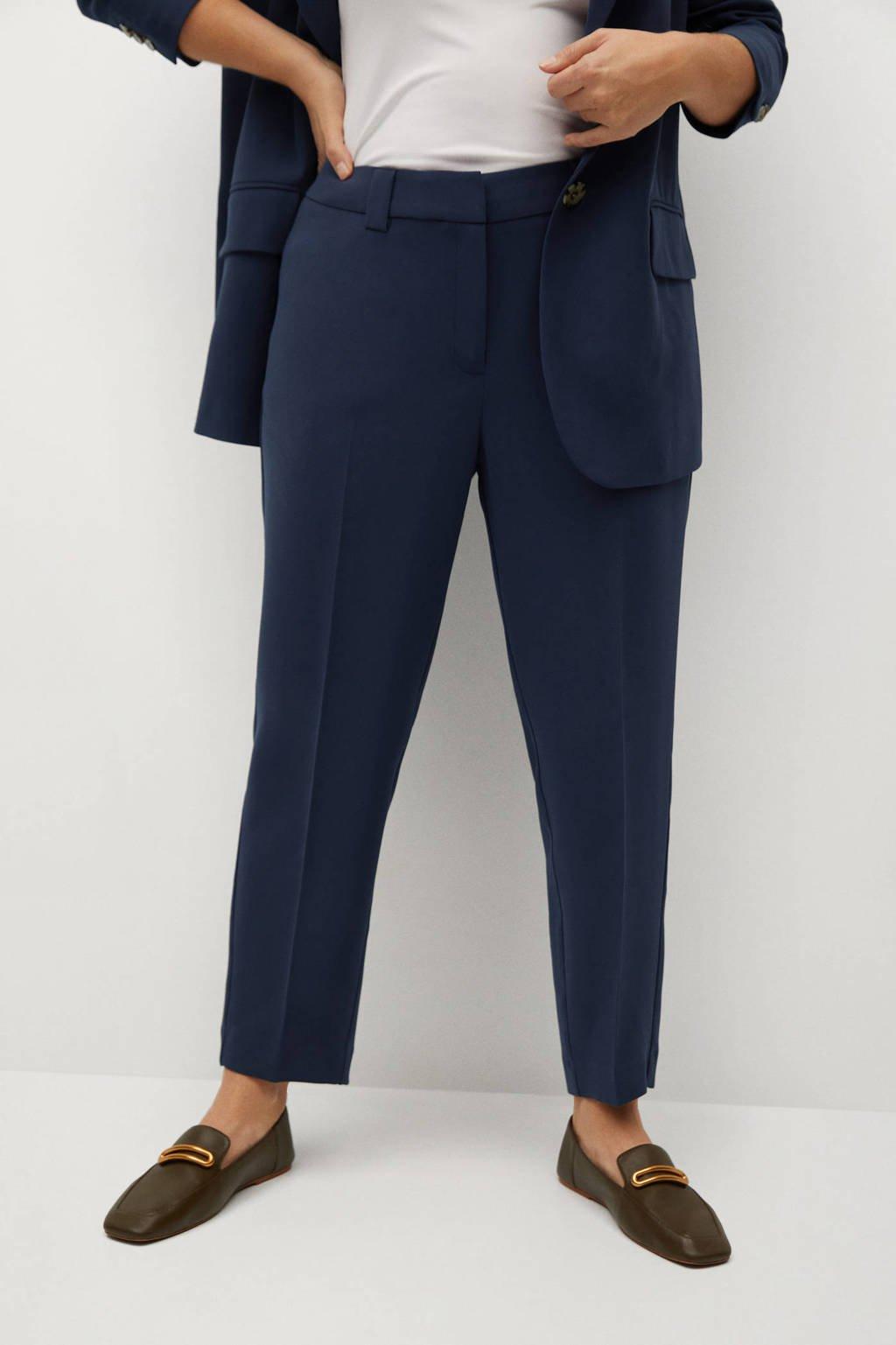 Violeta by Mango cropped slim fit pantalon donkerblauw, Donkerblauw