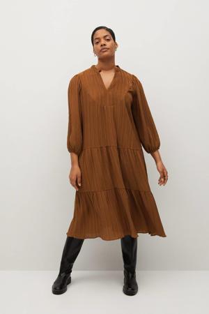jurk met volant camel