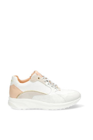 leren sneakers met crocoprint wit/beige