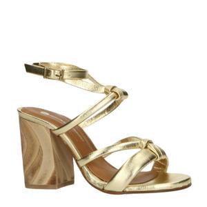 leren sandalettes goud