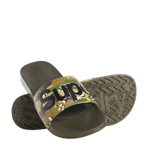 Superdry Sport Lineman Poolslide badslippers camouflage kaki