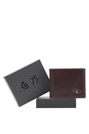 leren portemonnee + giftbox donkerbruin