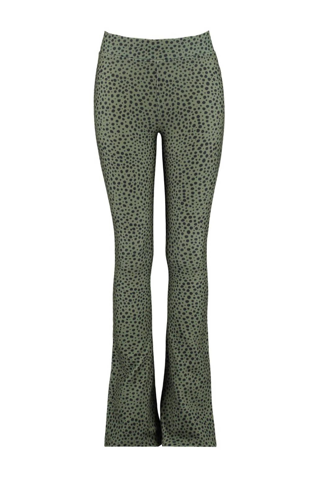 CoolCat Junior flared broek Philou met stippen groen/zwart, Groen/zwart