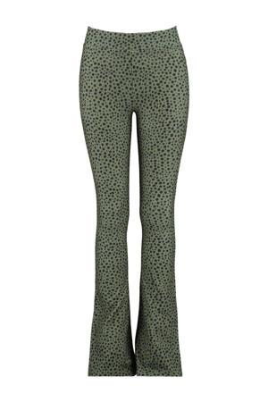 flared broek Philou met stippen groen/zwart