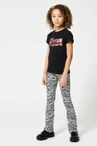 CoolCat Junior flared broek Philou met all over print zwart/wit, Zwart/wit
