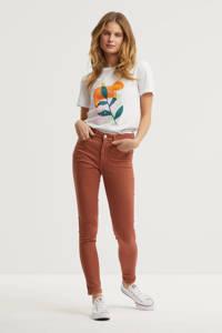 anytime T-shirt met printopdruk wit, Wit/oranje/groen